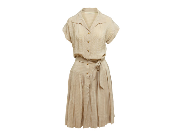 Vintage Tan & White Chanel Boutique Striped Dress