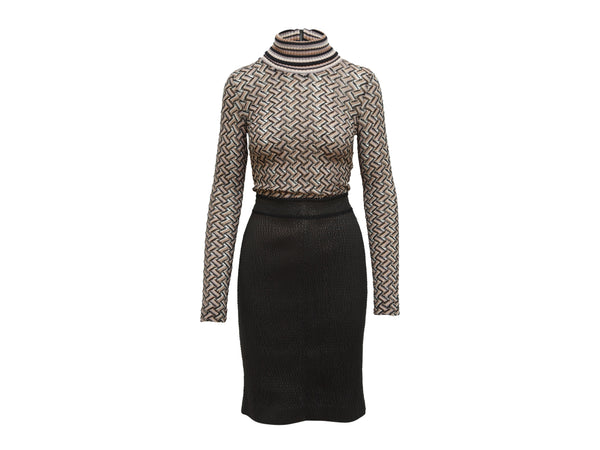 Brown and Black Missoni Knit Dress