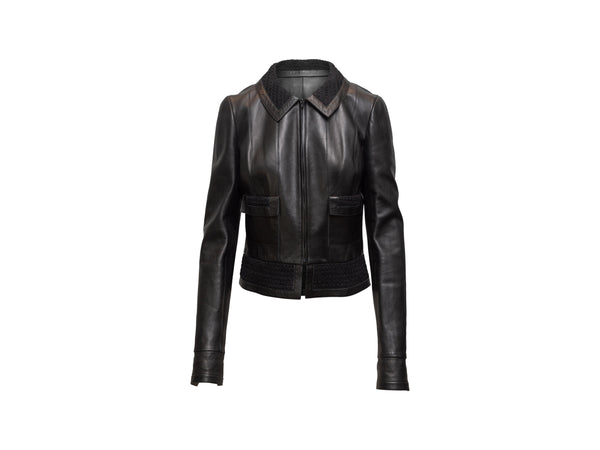 Black Chanel Cropped Leather Jacket