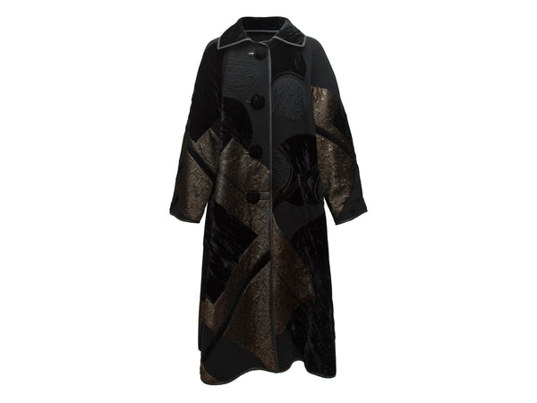 Black Koos Van Den Akker Couture Long Velvet Coat