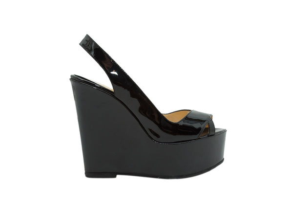 Black Christian Louboutin Patent Leather Wedges