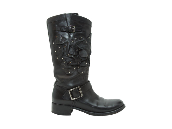Black Valentino Tall Floral Leather Boots