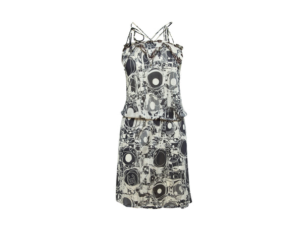 Black & White Chanel 2000s Printed Halterneck Dress