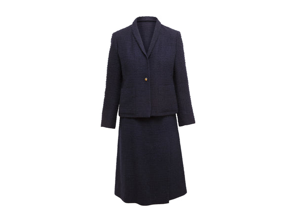 Vintage Navy Chanel Creations Bouclé Skirt Suit