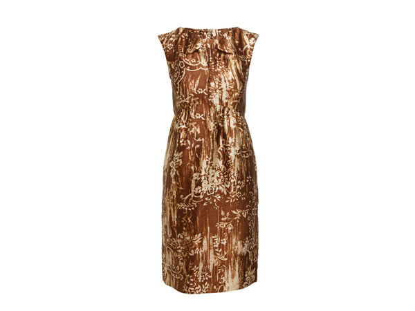 Brown Oscar de la Renta 2009 Printed Sheath Dress