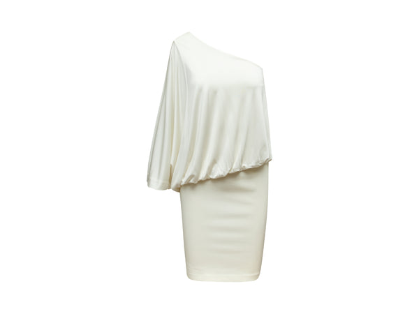 White Givenchy One-Shoulder Draped Dress