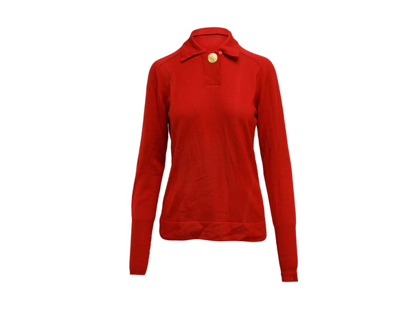 Vintage Red Chanel Boutique Long Sleeve Knit Top