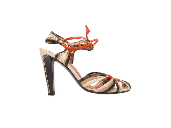 Tan & Multicolor Yves Saint Laurent Strappy Leather Sandals