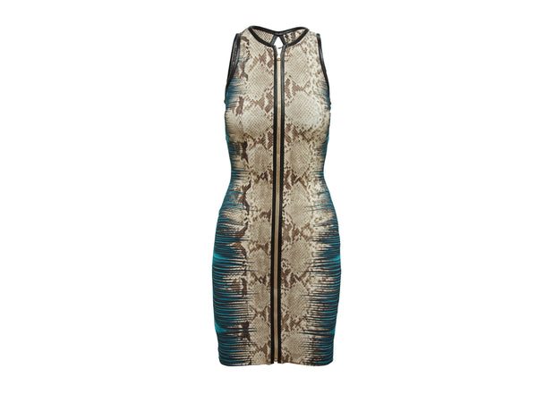 Multicolor Roberto Cavalli Snakeskin-Printed Dress