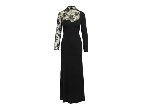 Black Givenchy Couture Long-Sleeve Lace Gown