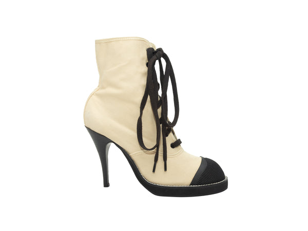 Vintage Cream & Black Junior Gaultier Canvas Cap-Toe Booties