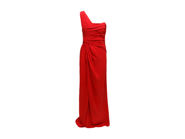 Edie Falco's Red Valentino Asymmetrical Pleated Gown