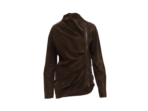 Brown Lanvin Fall 2009 Asymmetrical Suede Jacket
