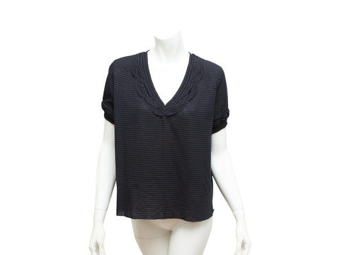 Black & Navy Blue Chanel Striped Blouse