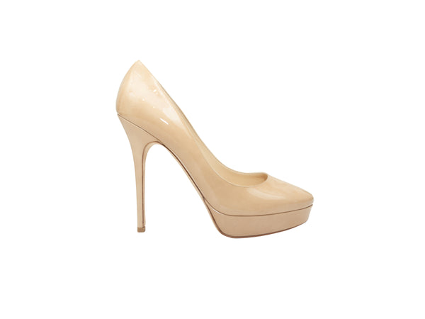Beige Jimmy Choo Platform Patent Leather Pumps