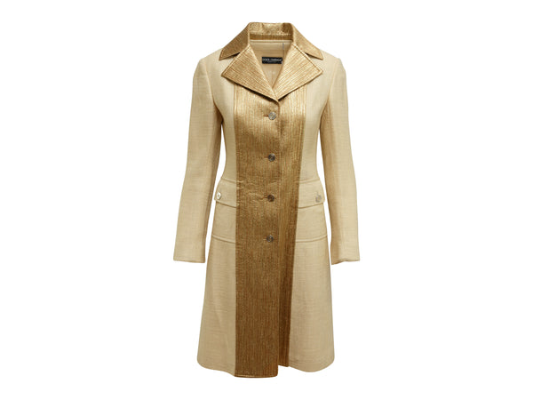 Tan & Gold Dolce & Gabbana Long Coat