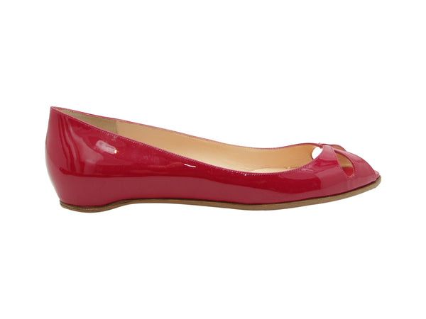 Red Christian Louboutin Patent Leather Low Wedge Flats