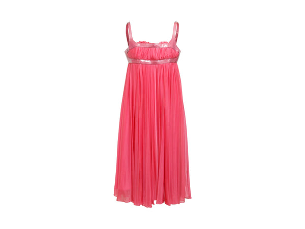 Hot Pink Alexander McQueen Pleated Babydoll Dress