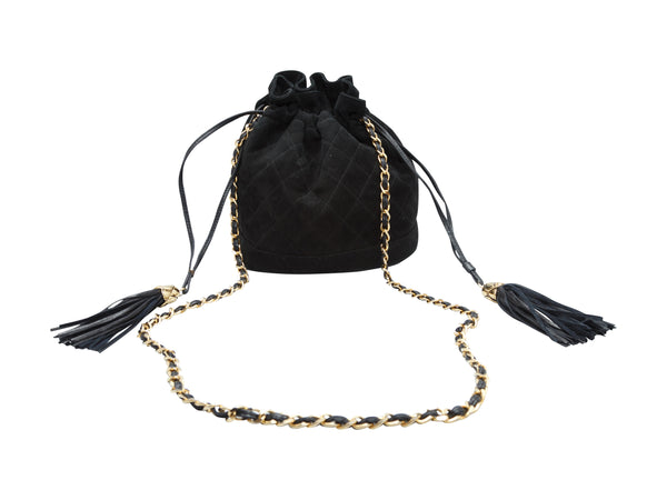 Vintage Black Chanel Suede Bucket Bag