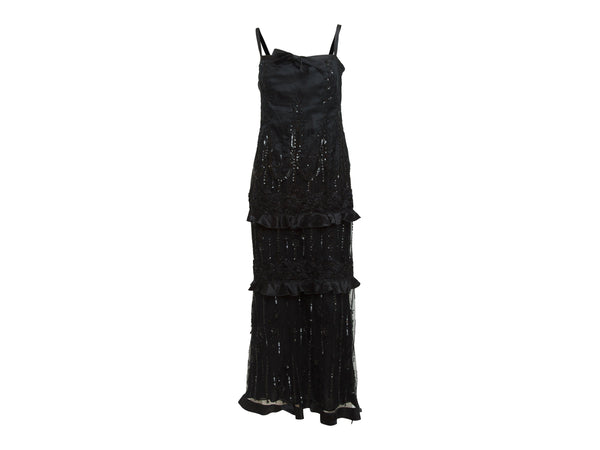 Black Valentino Embellished Silk Evening Gown