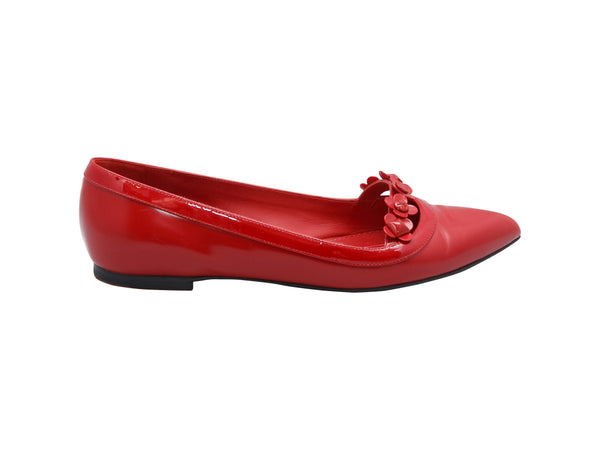 Red Louis Vuitton Pointed-Toe Ballet Flats