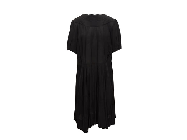 Black Marni Short Sleeve Draped Dress