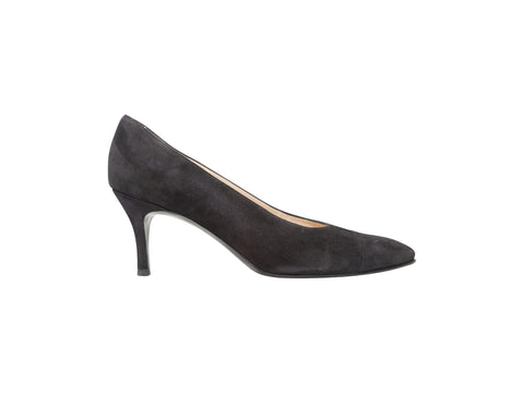 Black Chanel Suede Pointed-Toe Pumps