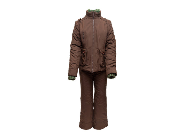 Brown & Green Christian Dior Snow Suit & Knit Beanie Set