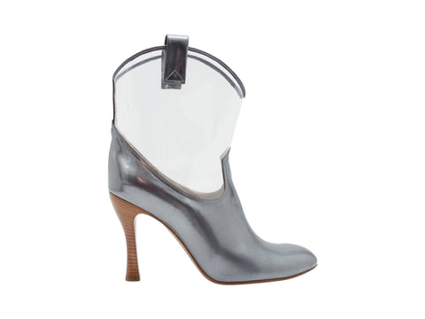 Silver Patent Leather and Clear Marc Jacobs Cowboy Booties