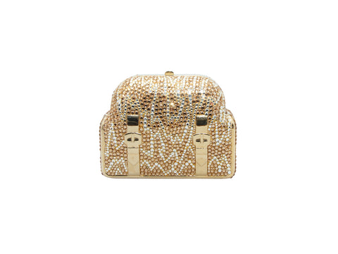 Vintage Gold-Tone Judith Leiber Suitcase Crystal Clutch