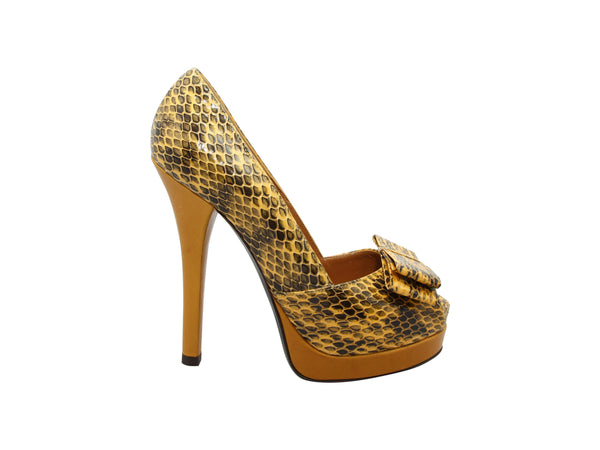 Yellow Fendi Snakeskin Platform Pumps