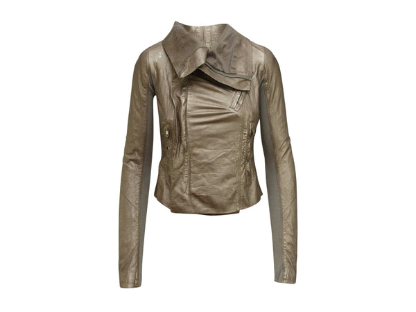 Metallic Gold Rick Owens Leather Jacket