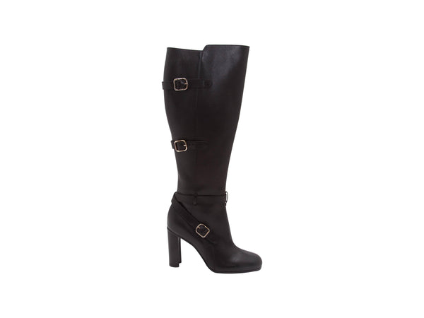 Black Hermes Leather Tall Heeled Boots