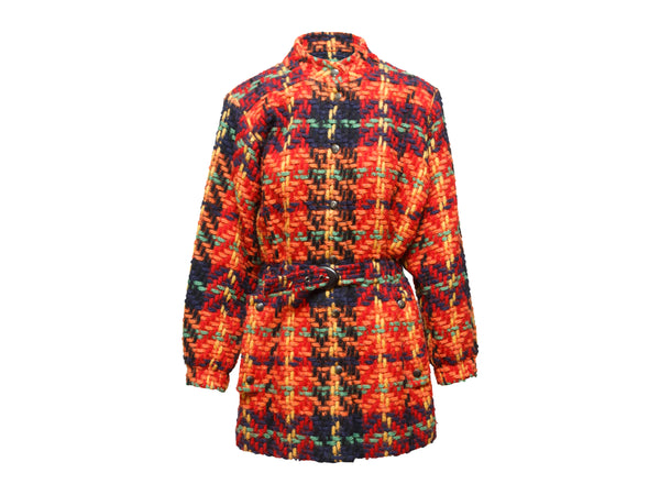 Vintage Red & Multicolor Yves Saint Laurent Tweed Jacket