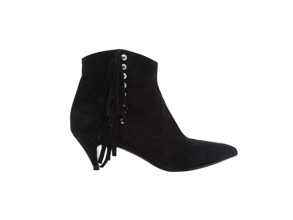 Black Saint Laurent Suede Booties with Fringe