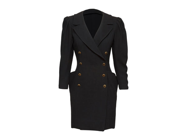 Vintage Black Ungaro Double-Breasted Blazer Dress