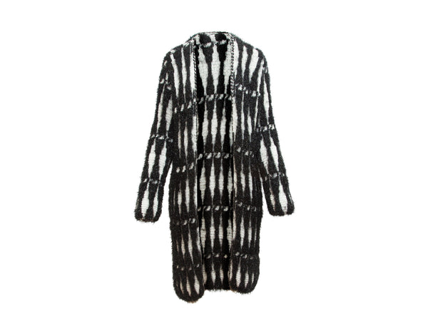 Black and White Lanvin Pre-Fall 2017 Woven Metallic Shaggy Sweater Coat