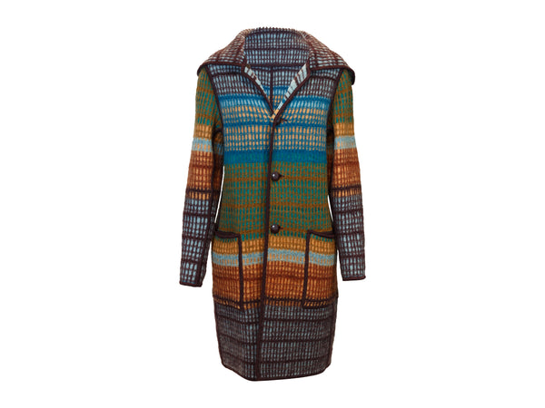 Brown & Multicolor Missoni Reversible Knit Coat