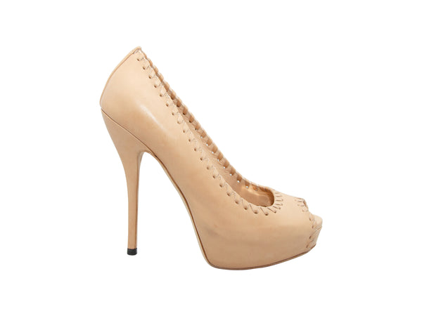 Nude Gucci Leather Whipstitched Platform Pumps