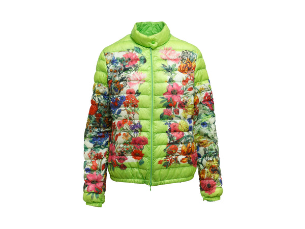 Green & Floral Print Moncler Puffer Jacket