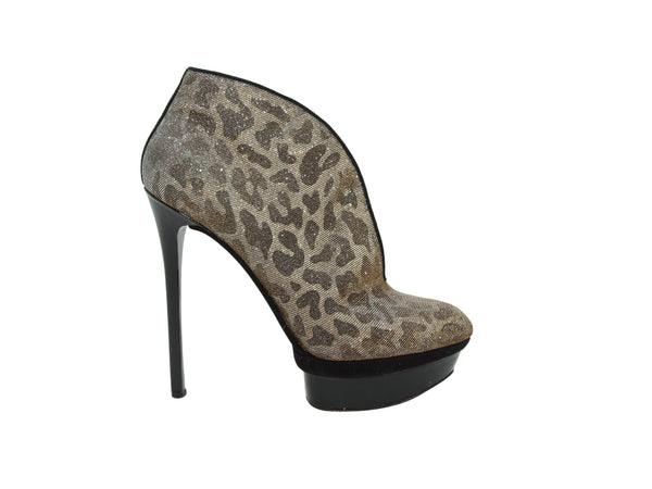 Metallic Gold Brian Atwood Cheetah Platform Ankle Boots