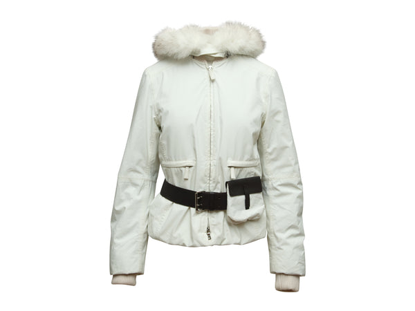 White Prada Fox Fur-Trimmed Down Jacket w/ Belt Bag
