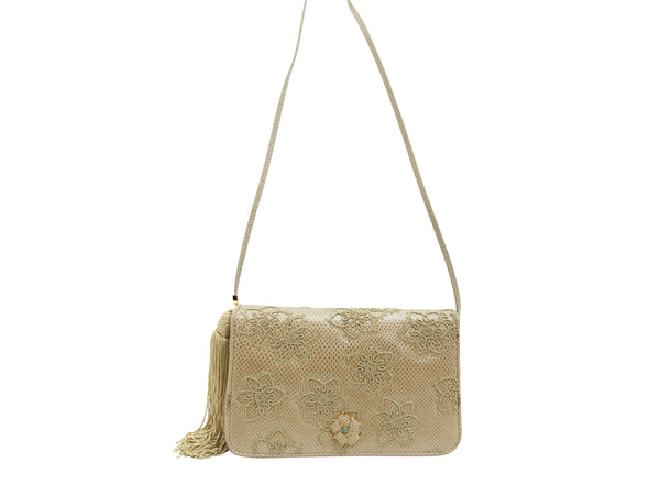 Beige Judith Leiber Karung Embroidered Bag