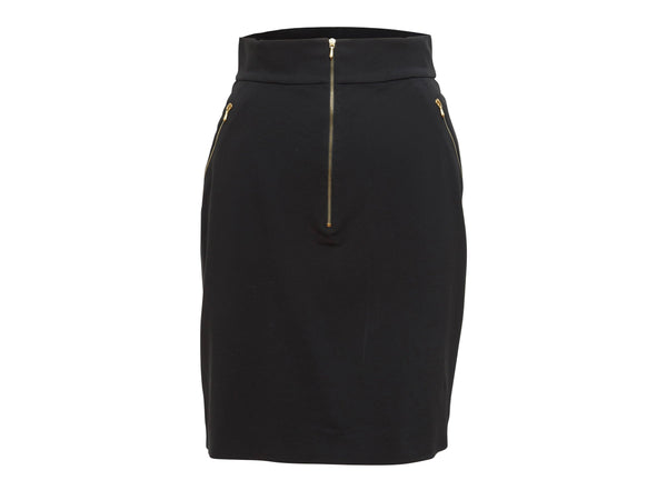 Black Vintage Chanel Zip-Front Skirt