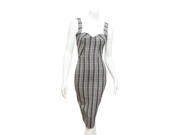 Multicolor Victoria Beckham Plaid Sheath Dress