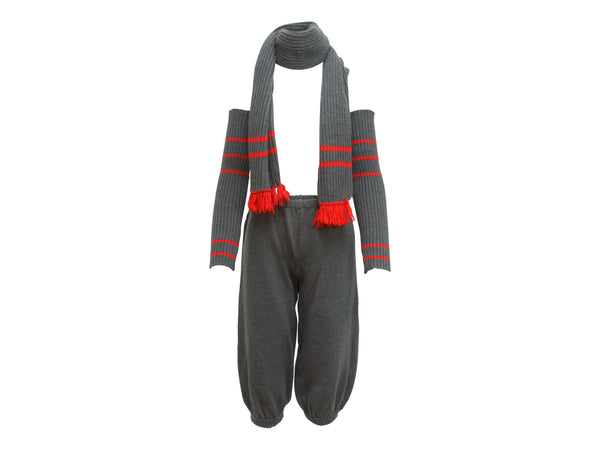 Grey & Red Vintage Chanel FW 84/85 Knit 3-Piece Set