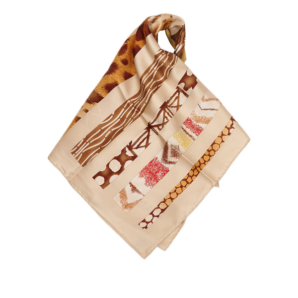 Cream And Multicolor Salvatore Ferragamo Silk Printed Scarf