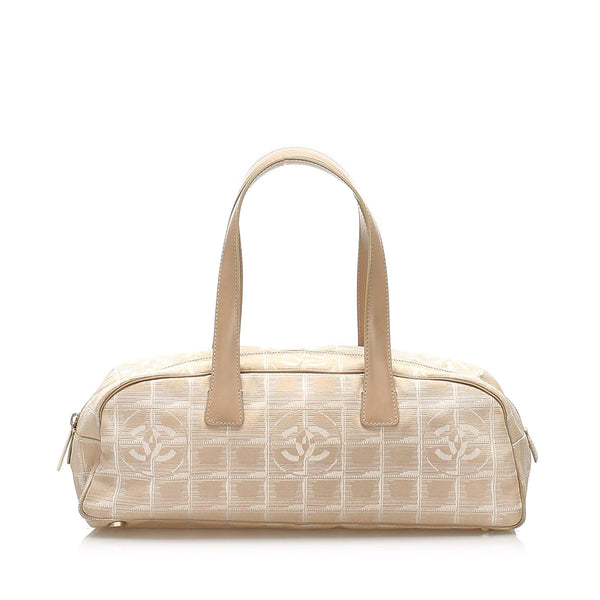Beige Chanel New Travel Line Canvas Handbag Bag