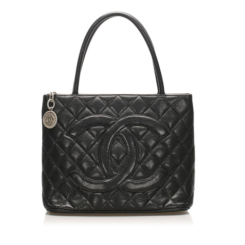 Black Chanel Medallion Caviar Leather Tote Bag