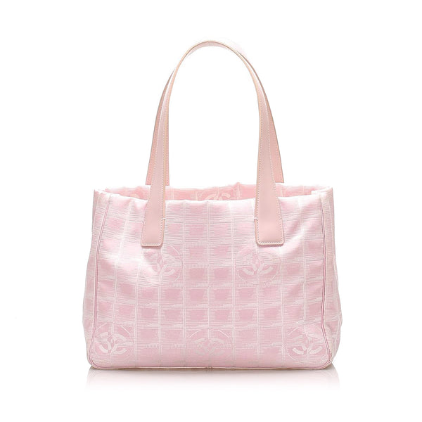 Pink Chanel New Travel Line Canvas Tote Bag